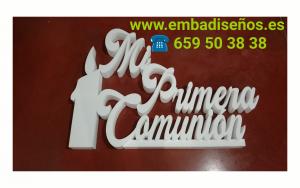 """MI PRIMERA COMUNION"" LETRAS DE POLIESPAN O CORCHO BLANCO BARATO..."